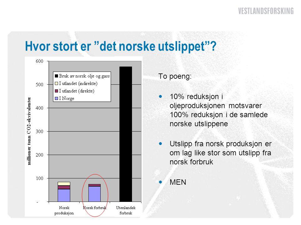 """Hvor stort er """"det norske utslippet""""? To poeng:  10% reduksjon i oljeproduksjonen motsvarer 100% reduksjon i de samlede norske utslippene  Utslipp f"""