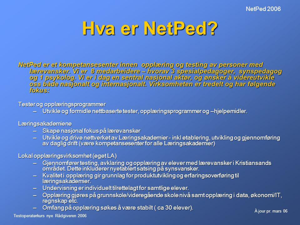 Testoperatørkurs nye Rådgiveren 2006 À jour pr.mars 06 NetPed 2006 Hva er NetPed.