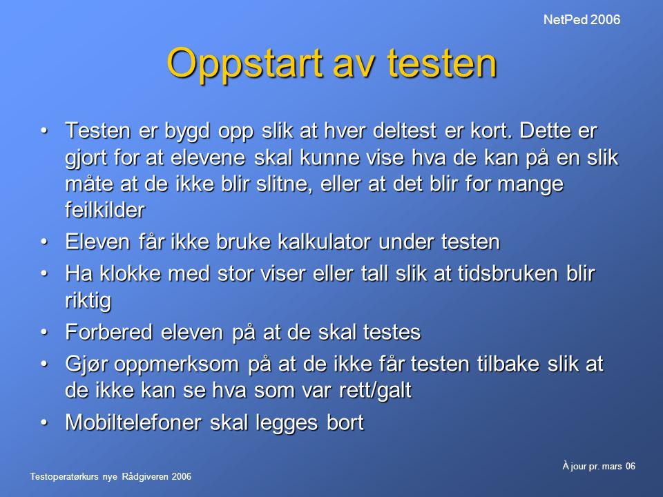 Testoperatørkurs nye Rådgiveren 2006 À jour pr. mars 06 NetPed 2006 Også feilsatte punktum regnes!