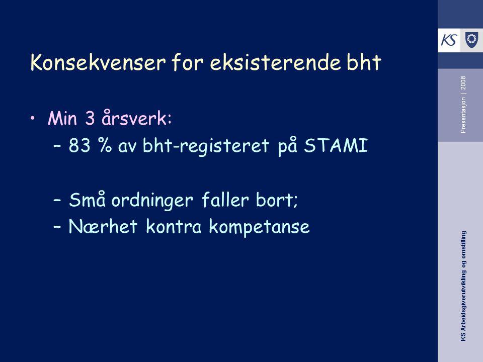 KS Arbeidsgiverutvikling og omstilling Presentasjon | 2008 Konsekvenser for eksisterende bht •Min 3 årsverk: –83 % av bht-registeret på STAMI –Små ordninger faller bort; –Nærhet kontra kompetanse