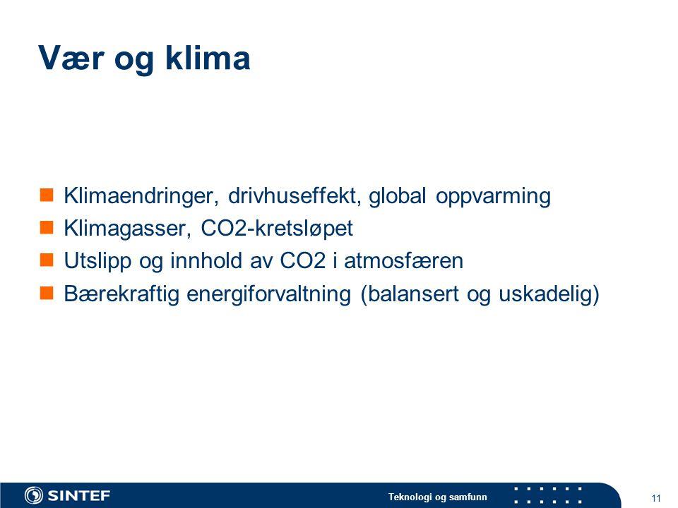 Teknologi og samfunn 11 Vær og klima  Klimaendringer, drivhuseffekt, global oppvarming  Klimagasser, CO2-kretsløpet  Utslipp og innhold av CO2 i atmosfæren  Bærekraftig energiforvaltning (balansert og uskadelig)