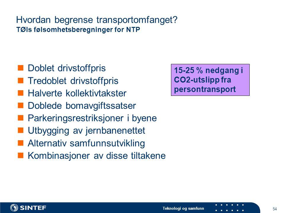 Teknologi og samfunn 54 Hvordan begrense transportomfanget.