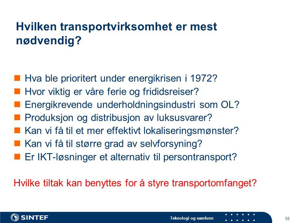 Teknologi og samfunn 55 Hvilken transportvirksomhet er mest nødvendig.