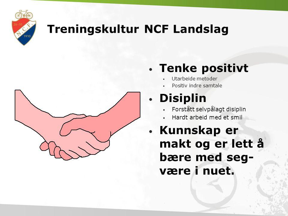 Treningskultur NCF Landslag • Tålmodighet  Oppgaveorientert. Egen målformulering skal gjenspeile dette  Delmål • Være frisk  Kunnskap om dette, kos