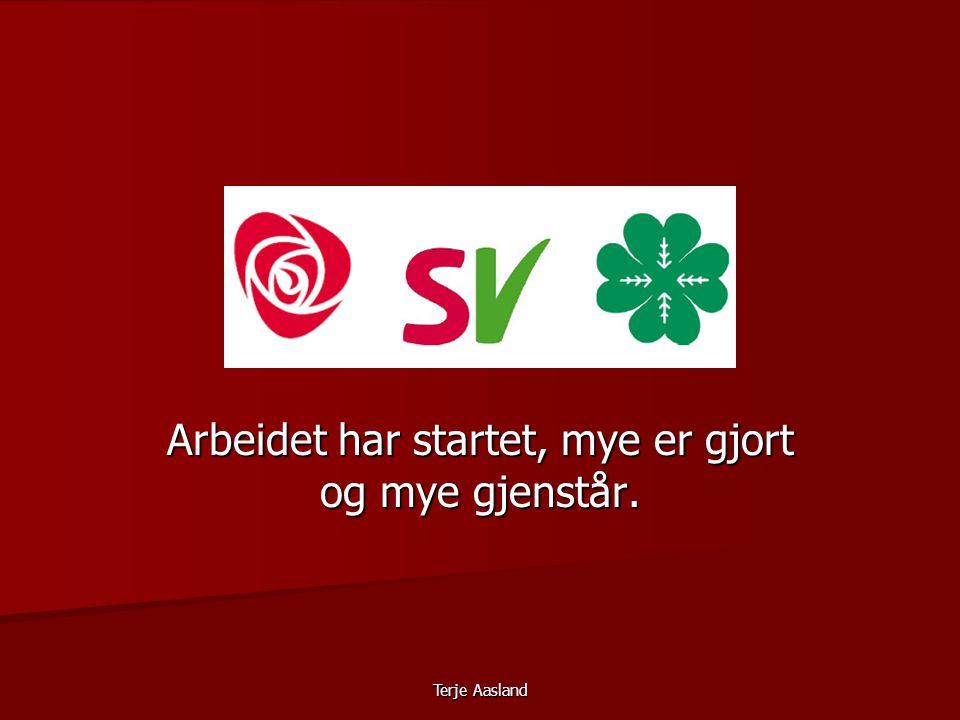 Terje Aasland Arbeidet har startet, mye er gjort og mye gjenstår.