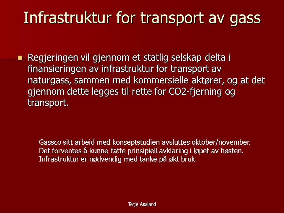 Terje Aasland Infrastruktur for transport av gass  Regjeringen vil gjennom et statlig selskap delta i finansieringen av infrastruktur for transport av naturgass, sammen med kommersielle aktører, og at det gjennom dette legges til rette for CO2-fjerning og transport.