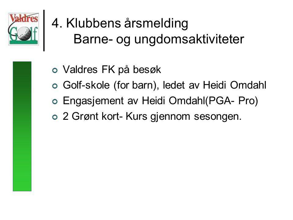 4. Klubbens årsmelding Barne- og ungdomsaktiviteter Valdres FK på besøk Golf-skole (for barn), ledet av Heidi Omdahl Engasjement av Heidi Omdahl(PGA-