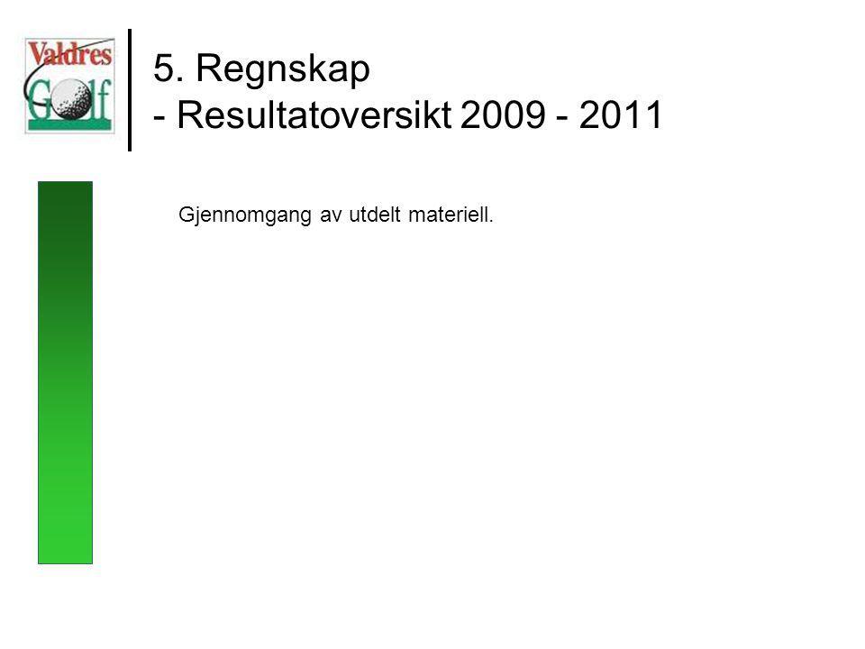 5. Regnskap - Resultatoversikt 2009 - 2011 Gjennomgang av utdelt materiell.