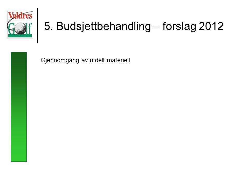 5. Budsjettbehandling – forslag 2012 Gjennomgang av utdelt materiell