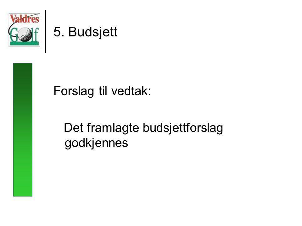 5. Budsjett Forslag til vedtak: Det framlagte budsjettforslag godkjennes