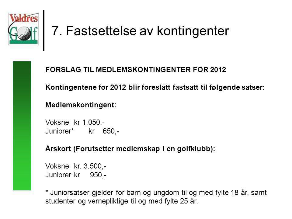 7. Fastsettelse av kontingenter FORSLAG TIL MEDLEMSKONTINGENTER FOR 2012 Kontingentene for 2012 blir foreslått fastsatt til følgende satser: Medlemsko