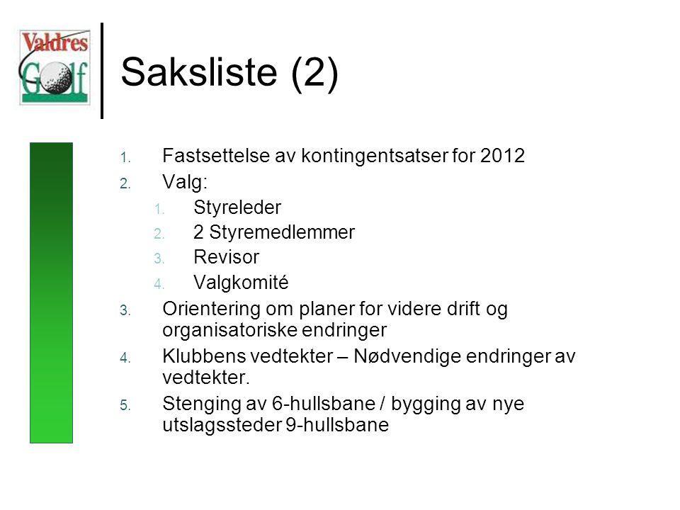 Saksliste (2) 1. Fastsettelse av kontingentsatser for 2012 2.