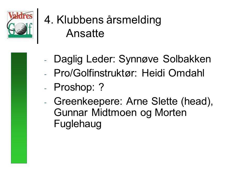 4. Klubbens årsmelding Ansatte - Daglig Leder: Synnøve Solbakken - Pro/Golfinstruktør: Heidi Omdahl - Proshop: ? - Greenkeepere: Arne Slette (head), G