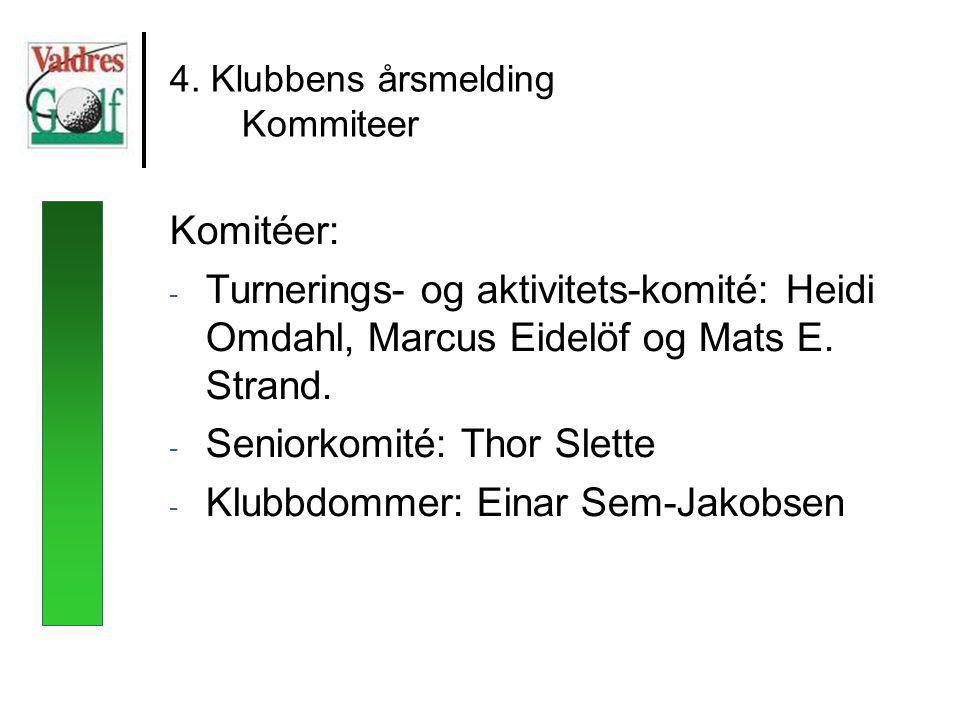 4. Klubbens årsmelding Kommiteer Komitéer: - Turnerings- og aktivitets-komité: Heidi Omdahl, Marcus Eidelöf og Mats E. Strand. - Seniorkomité: Thor Sl