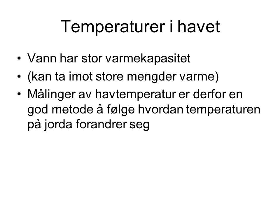 Temperaturer i havet •Vann har stor varmekapasitet •(kan ta imot store mengder varme) •Målinger av havtemperatur er derfor en god metode å følge hvord
