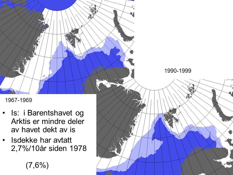•Is: i Barentshavet og Arktis er mindre deler av havet dekt av is •Isdekke har avtatt 2,7%/10år siden 1978 (7,6%) 1967-1969 1990-1999