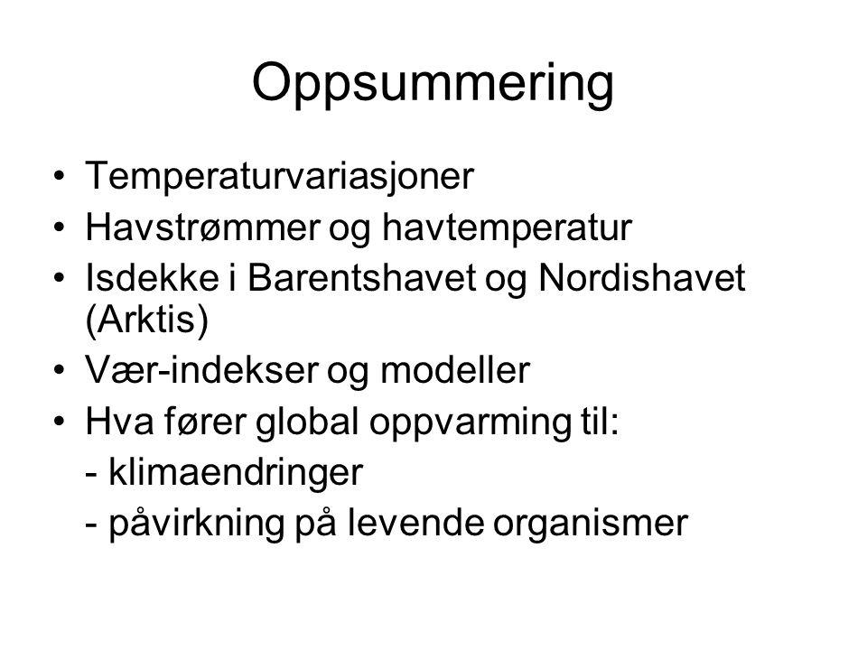 Oppsummering •Temperaturvariasjoner •Havstrømmer og havtemperatur •Isdekke i Barentshavet og Nordishavet (Arktis) •Vær-indekser og modeller •Hva fører