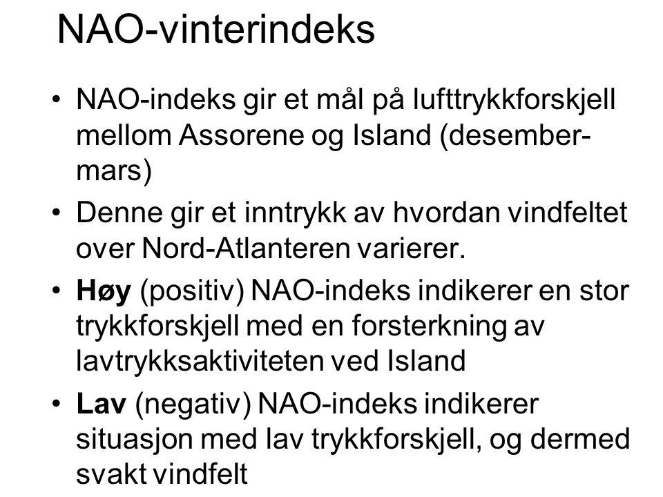 NAO-vinterindeks •NAO-indeks gir et mål på lufttrykkforskjell mellom Assorene og Island (desember- mars) •Denne gir et inntrykk av hvordan vindfeltet