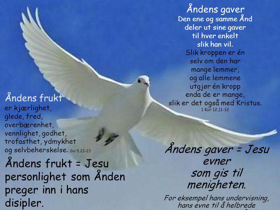 Åndens gaver = Jesu evner som gis til menigheten.