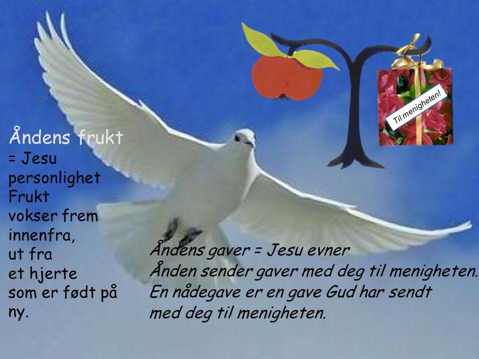 Åndens gaver = Jesu evner Ånden sender gaver med deg til menigheten.