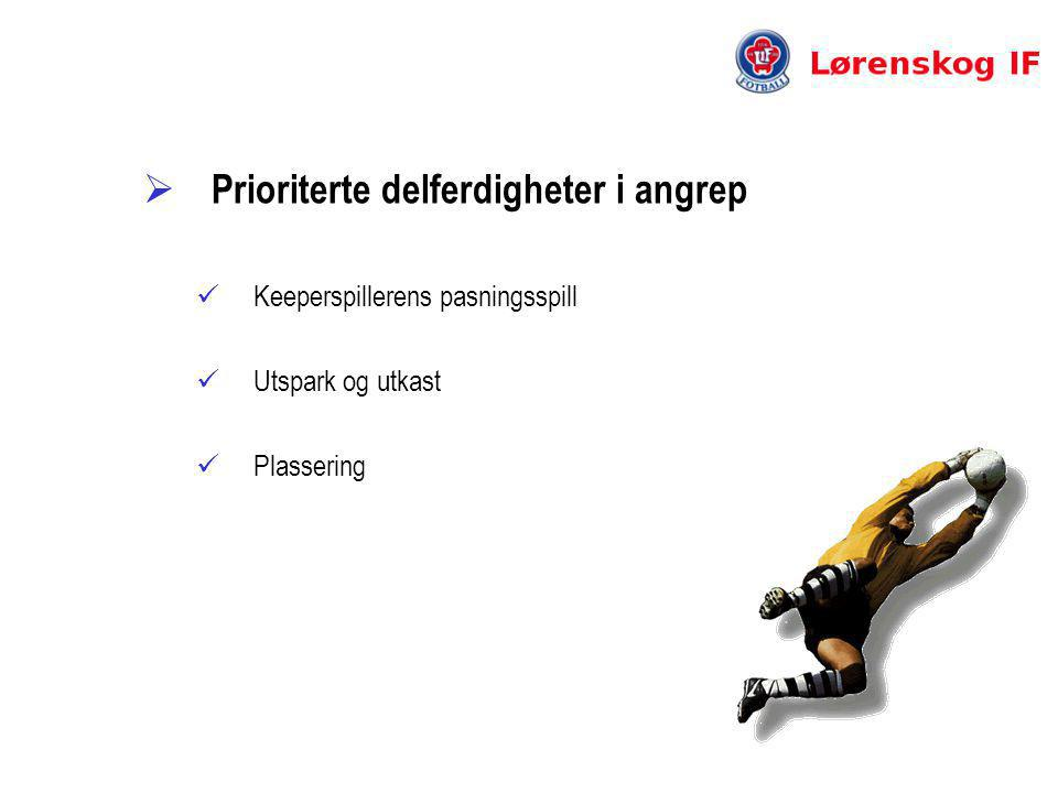  Prioriterte delferdigheter i angrep  Keeperspillerens pasningsspill  Utspark og utkast  Plassering