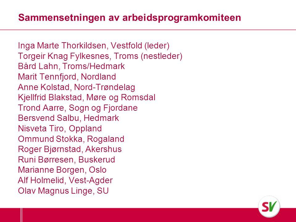 Sammensetningen av arbeidsprogramkomiteen Inga Marte Thorkildsen, Vestfold (leder) Torgeir Knag Fylkesnes, Troms (nestleder) Bård Lahn, Troms/Hedmark
