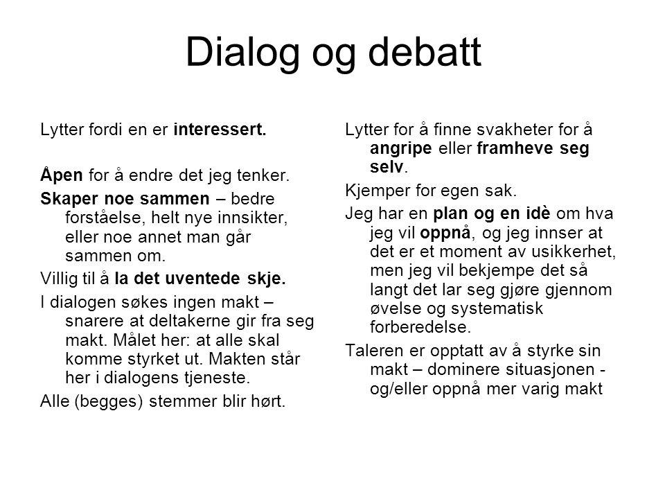 Dialog og debatt Lytter fordi en er interessert. Åpen for å endre det jeg tenker. Skaper noe sammen – bedre forståelse, helt nye innsikter, eller noe