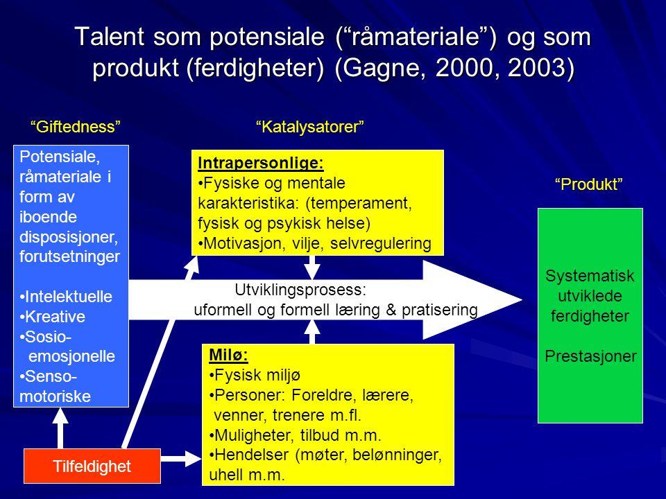 """Talent som potensiale (""""råmateriale"""") og som produkt (ferdigheter) (Gagne, 2000, 2003) Potensiale, råmateriale i form av iboende disposisjoner, foruts"""