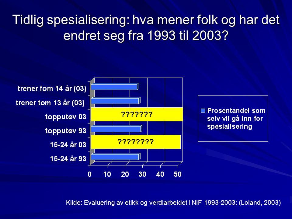 Tidlig spesialisering: hva mener folk og har det endret seg fra 1993 til 2003? Kilde: Evaluering av etikk og verdiarbeidet i NIF 1993-2003: (Loland, 2