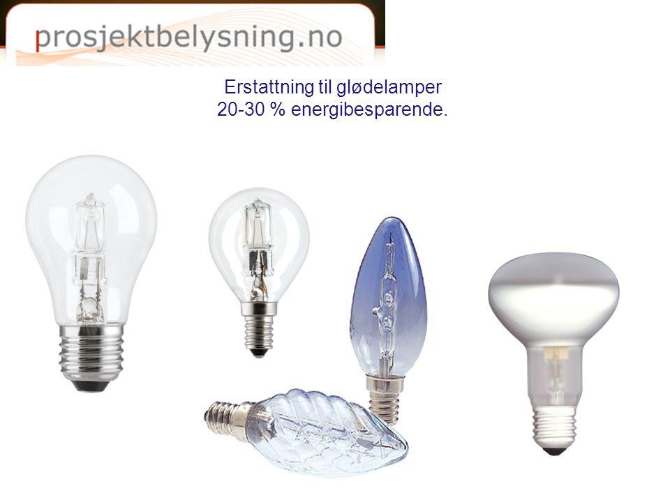 Erstattning til glødelamper 20-30 % energibesparende.