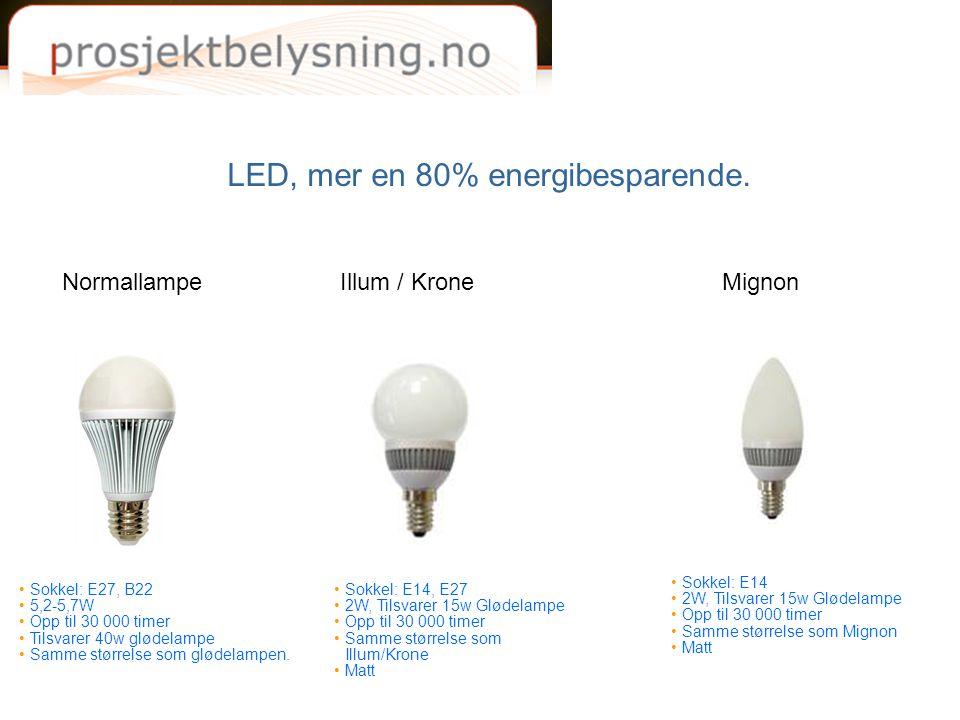 LED, mer en 80% energibesparende. NormallampeIllum / KroneMignon •Sokkel: E27, B22 •5,2-5,7W •Opp til 30 000 timer •Tilsvarer 40w glødelampe •Samme st