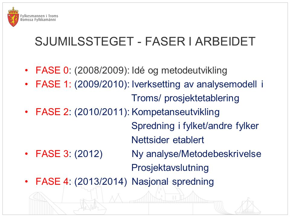 SJUMILSSTEGET - FASER I ARBEIDET •FASE 0: (2008/2009): Idé og metodeutvikling •FASE 1: (2009/2010): Iverksetting av analysemodell i Troms/ prosjektetablering •FASE 2: (2010/2011): Kompetanseutvikling Spredning i fylket/andre fylker Nettsider etablert •FASE 3: (2012) Ny analyse/Metodebeskrivelse Prosjektavslutning •FASE 4: (2013/2014) Nasjonal spredning