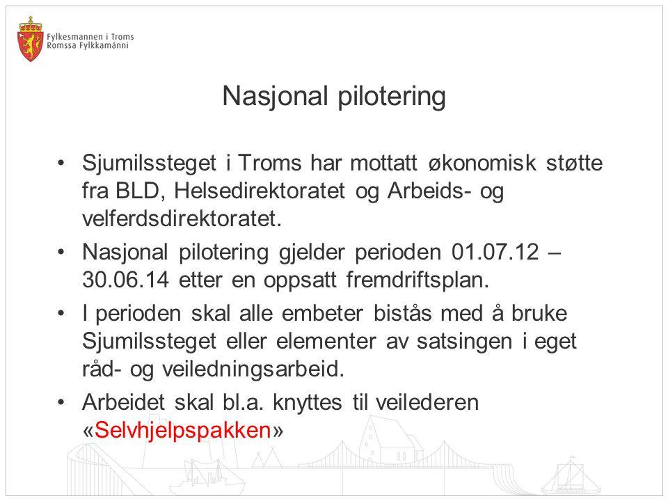 Nasjonal pilotering •Sjumilssteget i Troms har mottatt økonomisk støtte fra BLD, Helsedirektoratet og Arbeids- og velferdsdirektoratet.