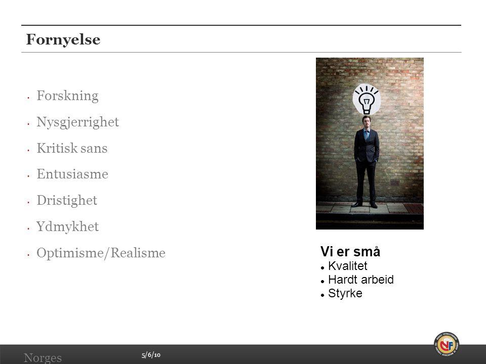 5/6/10 Norges Fotballforbund | www.fotball.no Fornyelse • Forskning • Nysgjerrighet • Kritisk sans • Entusiasme • Dristighet • Ydmykhet • Optimisme/Re