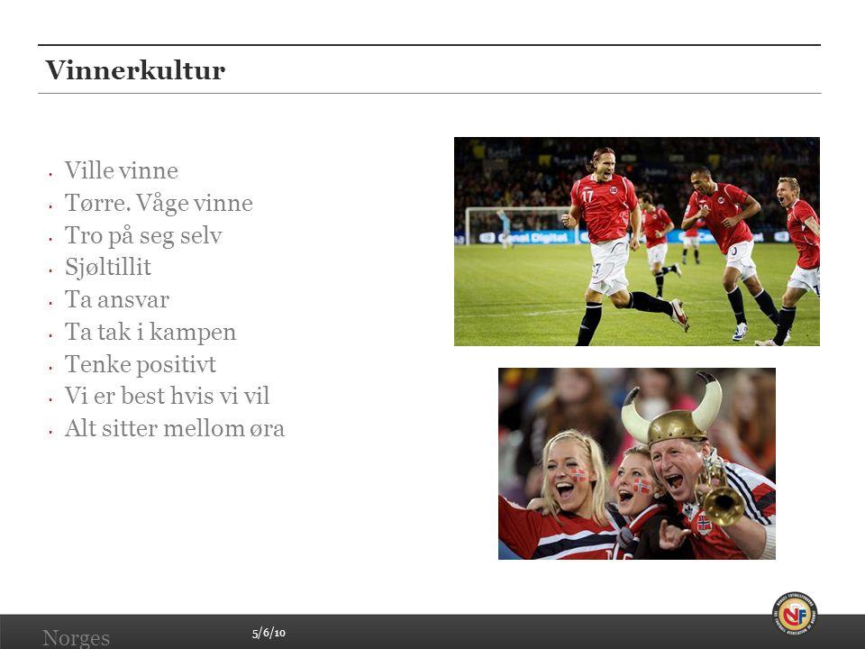 5/6/10 Norges Fotballforbund | www.fotball.no Vinnerkultur • Ville vinne • Tørre. Våge vinne • Tro på seg selv • Sjøltillit • Ta ansvar • Ta tak i kam