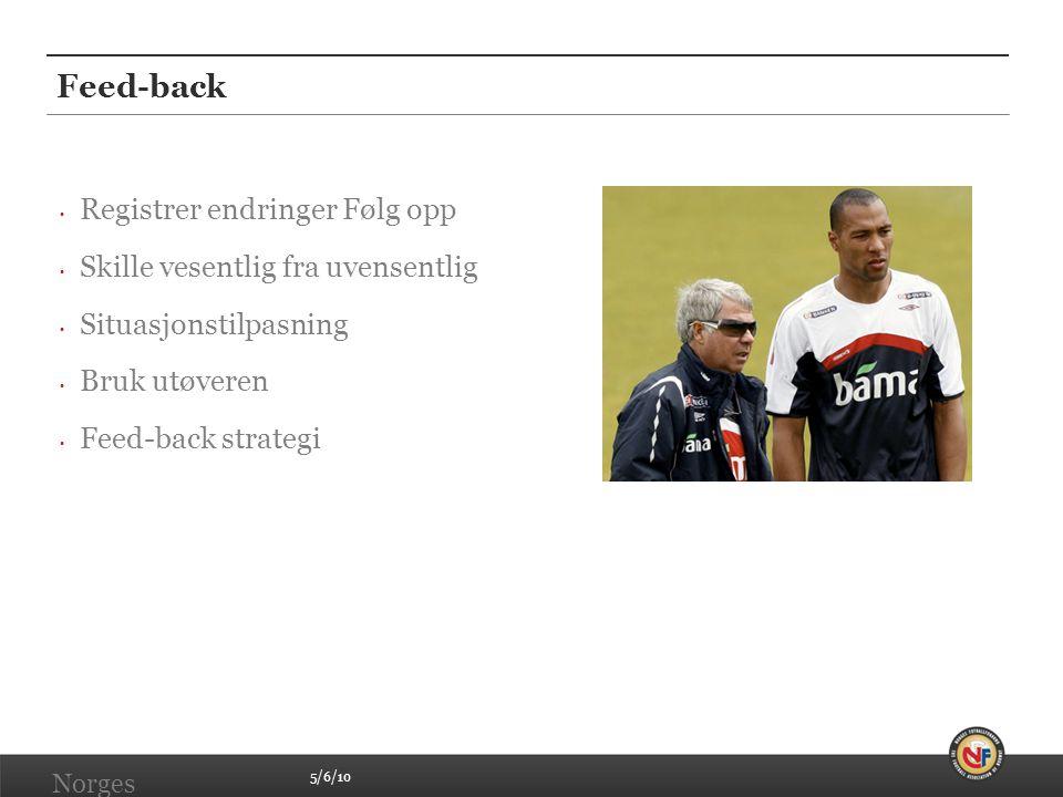 5/6/10 Norges Fotballforbund   www.fotball.no Feed-back • Registrer endringer Følg opp • Skille vesentlig fra uvensentlig • Situasjonstilpasning • Bruk utøveren • Feed-back strategi