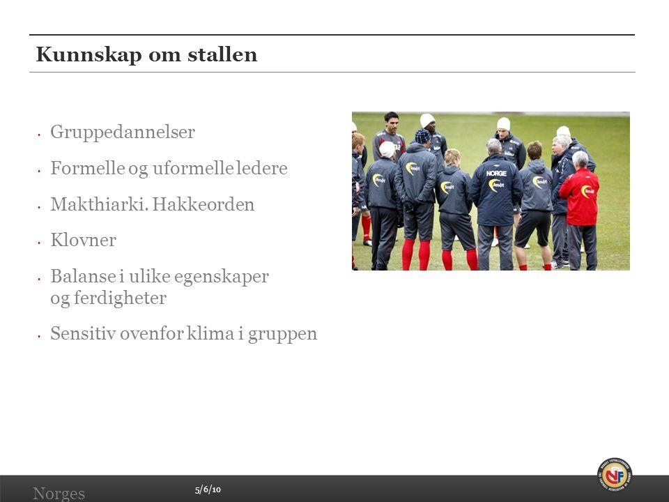 5/6/10 Norges Fotballforbund | www.fotball.no Kunnskap om stallen • Gruppedannelser • Formelle og uformelle ledere • Makthiarki. Hakkeorden • Klovner