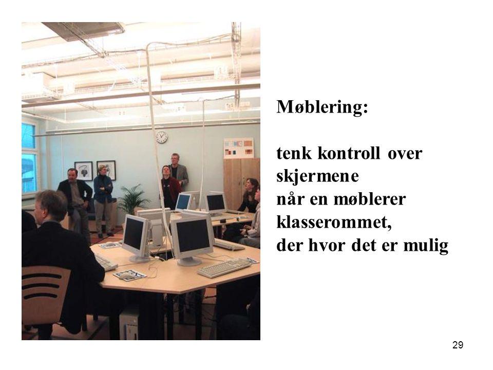 29 Møblering: tenk kontroll over skjermene når en møblerer klasserommet, der hvor det er mulig