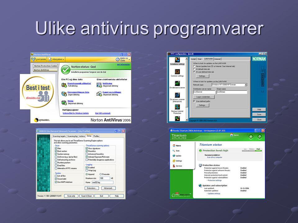 Ulike antivirus programvarer