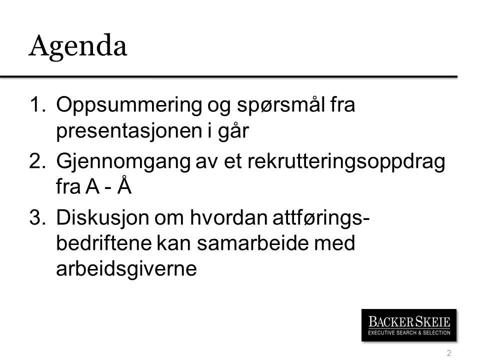 Agenda 1.Oppsummering og spørsmål fra presentasjonen i går 2.Gjennomgang av et rekrutteringsoppdrag fra A - Å 3.Diskusjon om hvordan attførings- bedriftene kan samarbeide med arbeidsgiverne 2