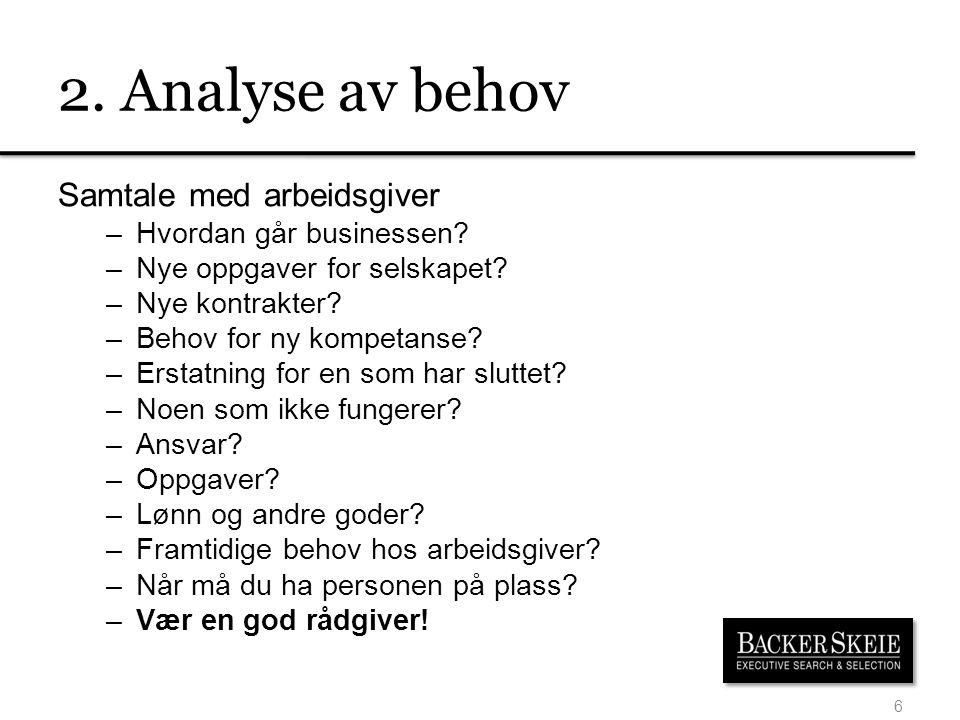 2. Analyse av behov Samtale med arbeidsgiver –Hvordan går businessen? –Nye oppgaver for selskapet? –Nye kontrakter? –Behov for ny kompetanse? –Erstatn