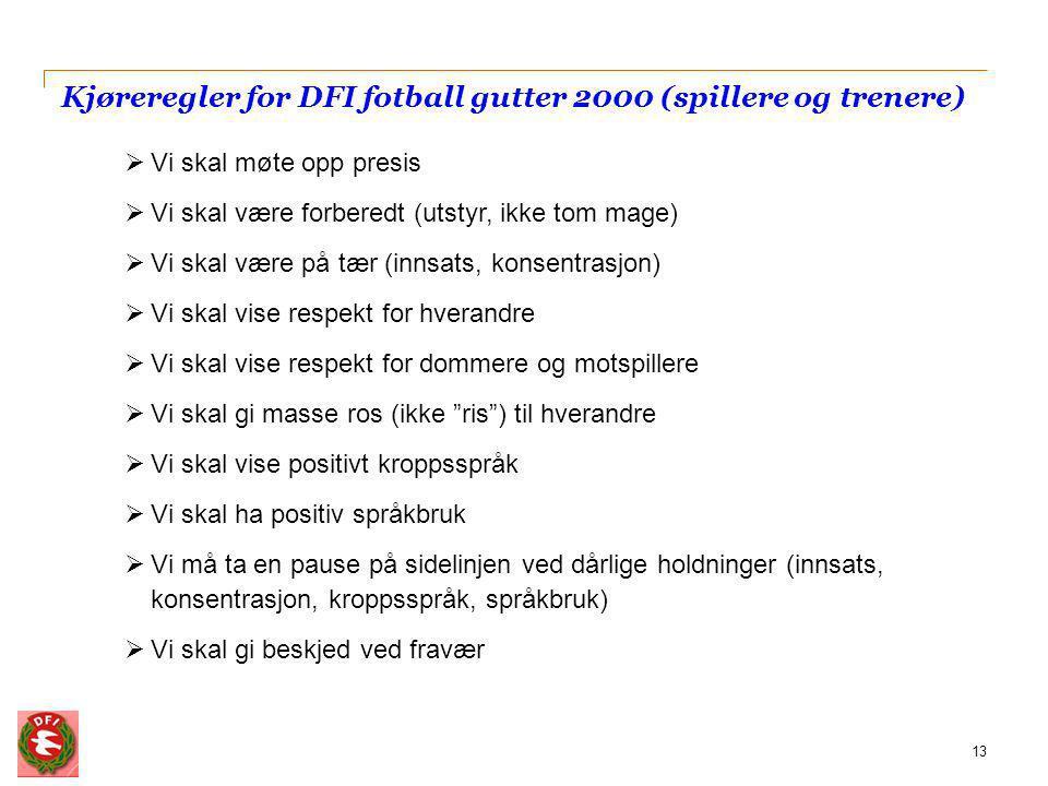 Kjøreregler for DFI fotball gutter 2000 (spillere og trenere) 13  Vi skal møte opp presis  Vi skal være forberedt (utstyr, ikke tom mage)  Vi skal