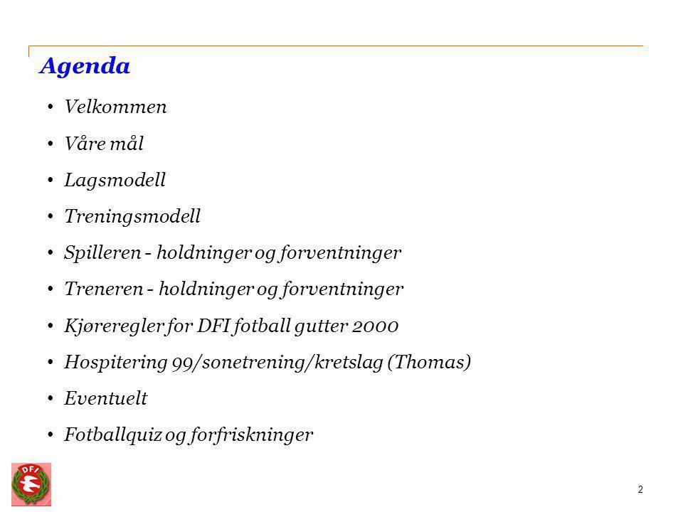 Våre mål 3 DFI fotball gutter 2000 har to mål med fotballen: 1.