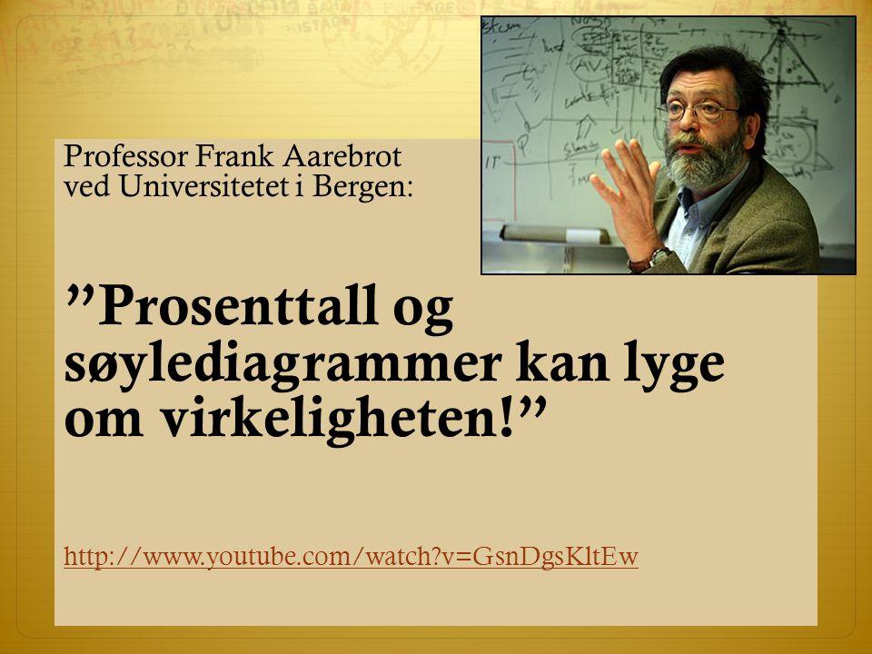 Professor Frank Aarebrot ved Universitetet i Bergen: Prosenttall og søylediagrammer kan lyge om virkeligheten! http://www.youtube.com/watch?v=GsnDgsKltEw
