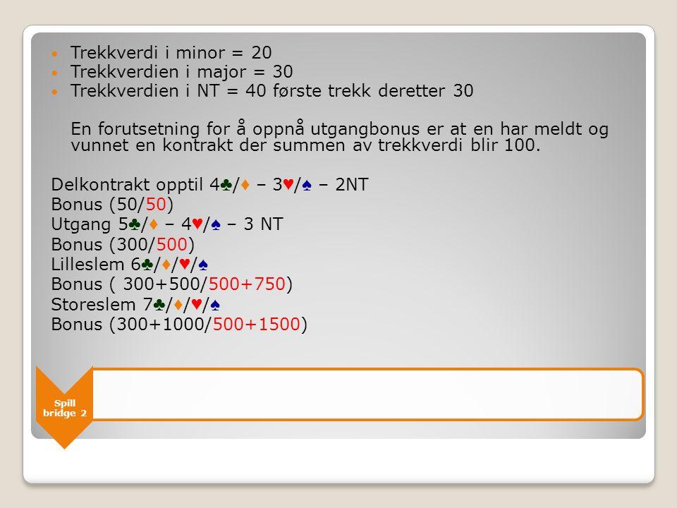 Spill bridge 2 Doblet kontrakt  2 * trekkverdien + 50/100 ◦ Doblet overstikk 100/200 Bet uten for sone  Udoblet = 50  Doblet = 100+200+200+300 for de neste Bet i sonen  Udoblet = 100  Doblet = 200+300 for de neste
