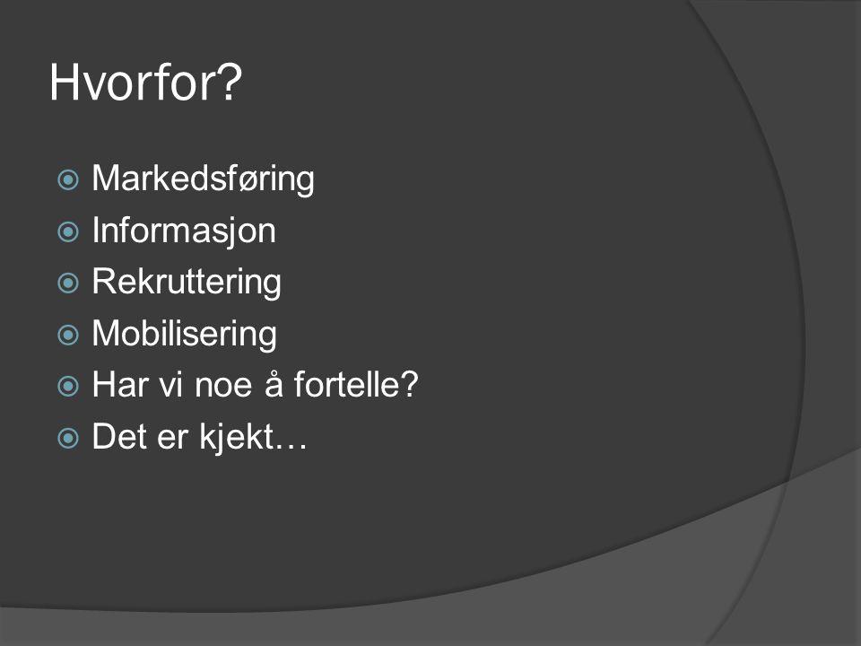 Hvorfor. Markedsføring  Informasjon  Rekruttering  Mobilisering  Har vi noe å fortelle.