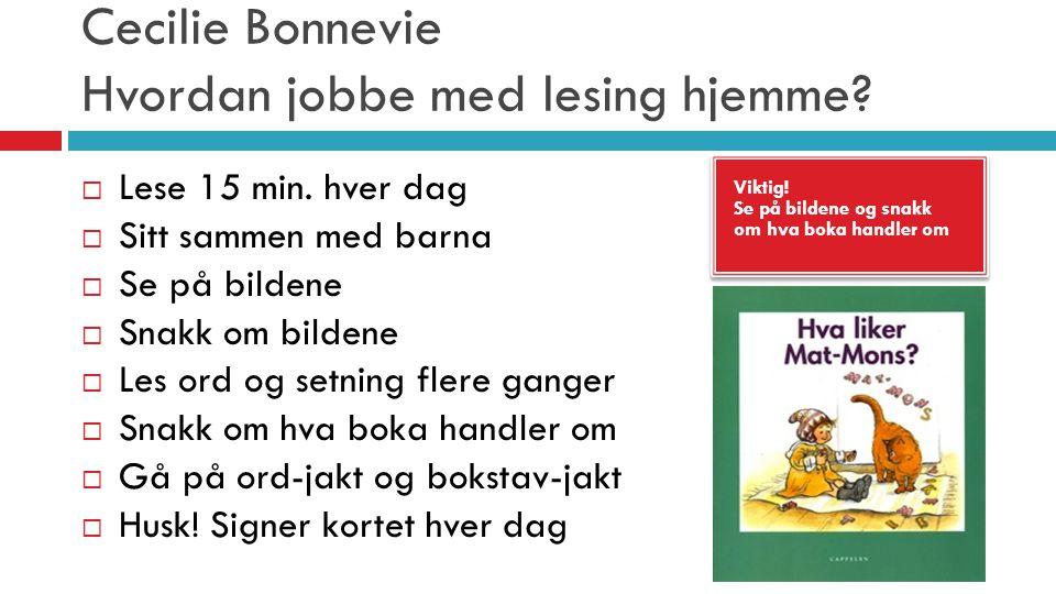 Cecilie Bonnevie Hvordan jobbe med lesing hjemme? Viktig! Se på bildene og snakk om hva boka handler om Viktig! Se på bildene og snakk om hva boka han