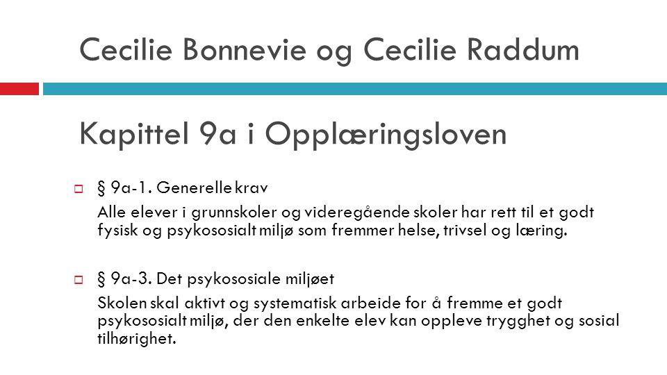 Cecilie Bonnevie og Cecilie Raddum Kapittel 9a i Opplæringsloven  § 9a-1. Generelle krav Alle elever i grunnskoler og videregående skoler har rett ti