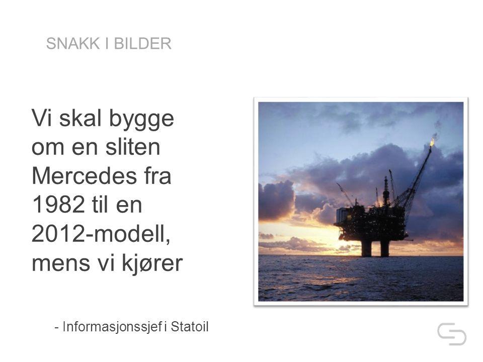 Vi skal bygge om en sliten Mercedes fra 1982 til en 2012-modell, mens vi kjører - Informasjonssjef i Statoil SNAKK I BILDER