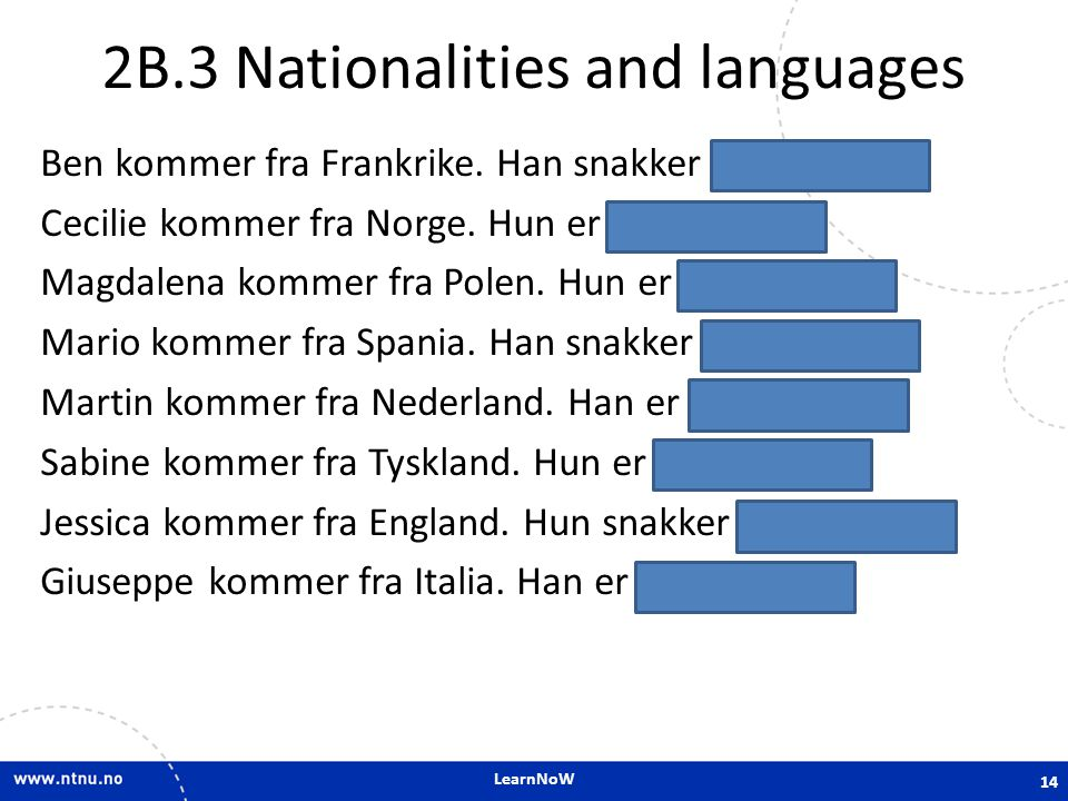 LearnNoW 2B.3 Nationalities and languages Ben kommer fra Frankrike.